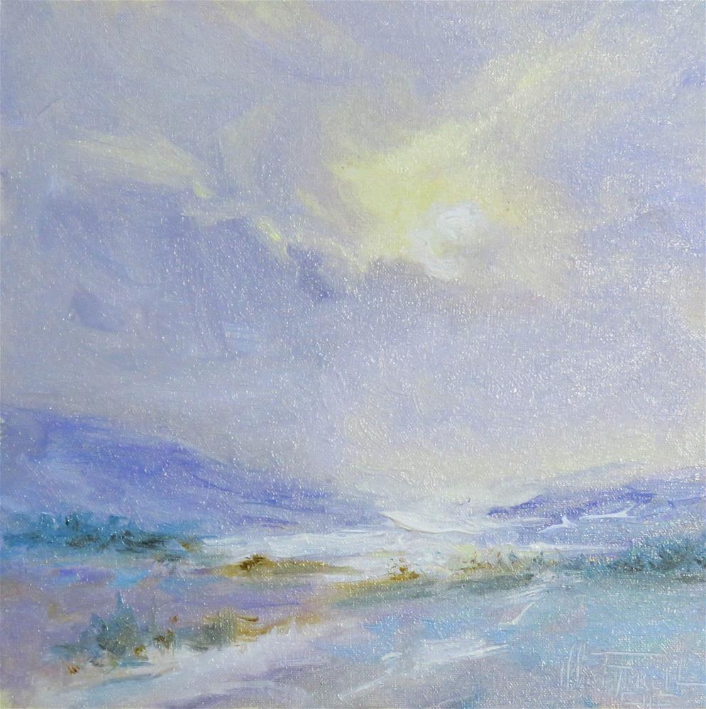 """Misty Winter Fields"" original fine art by Christa Friedl"