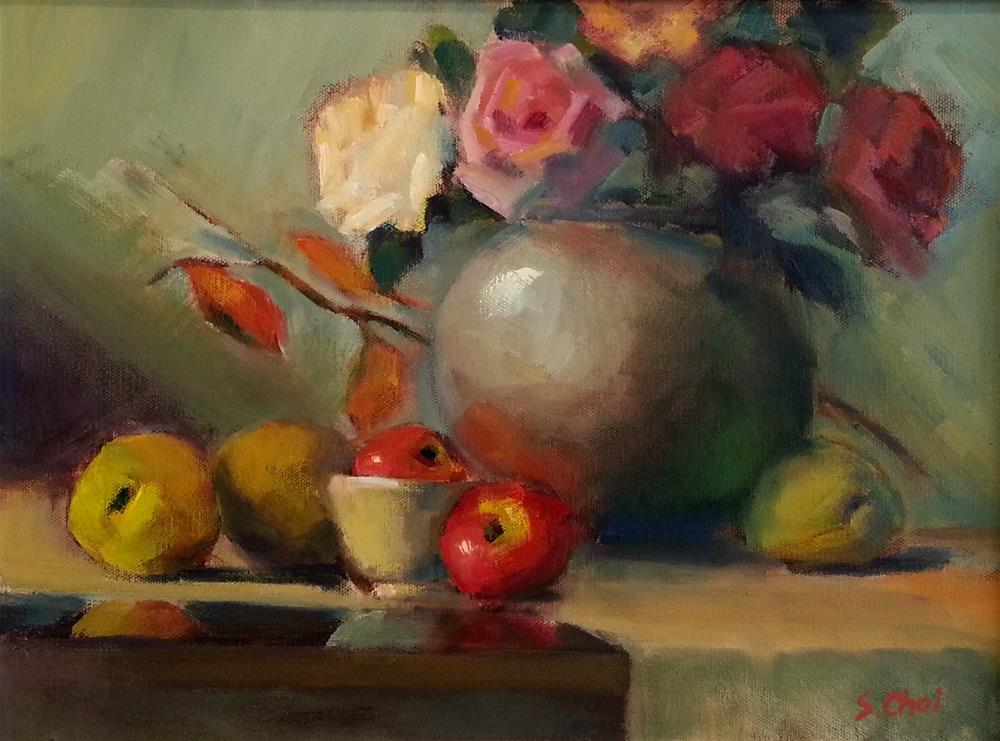"""""""Autumn roses with quinces"""" original fine art by Sunkyung Choi"""