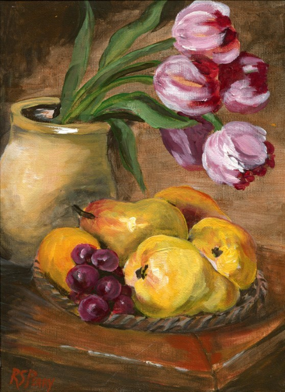 """Tulips and Pears"" original fine art by R. S. Perry"