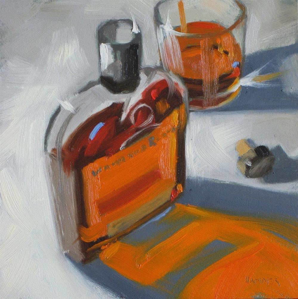 """Woodford Reserve neat  6x6 oil"" original fine art by Claudia Hammer"