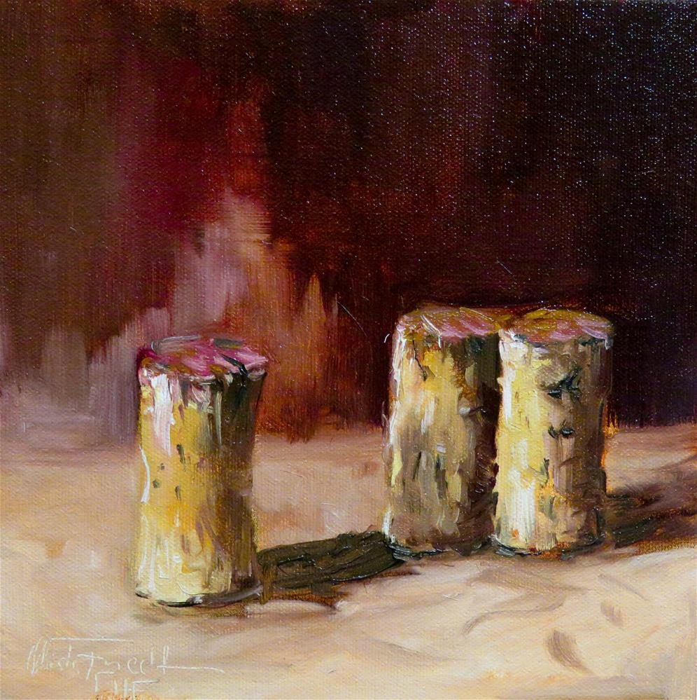 """Three red wine corks"" original fine art by Christa Friedl"