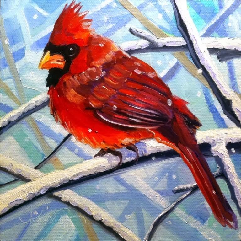 """""""SNOW BIRD"""" original fine art by Kristy Tracy"""