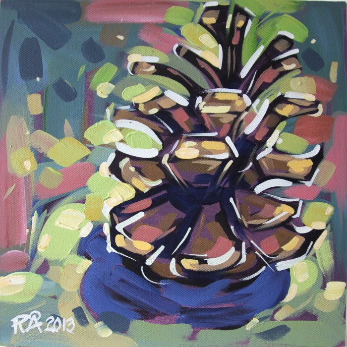 """""""Pine Cone Abstraction 7"""" original fine art by Roger Akesson"""