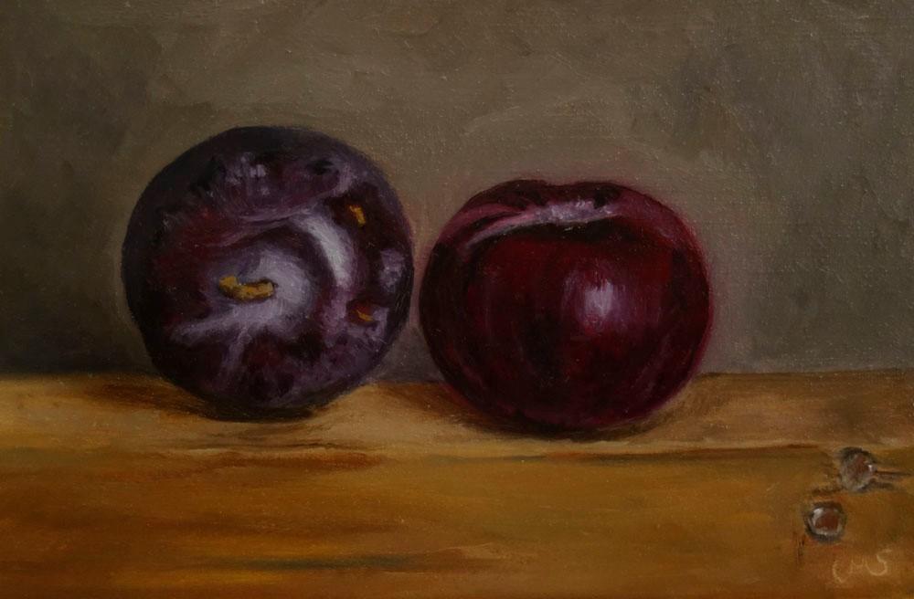 """""""Two Plums"""" original fine art by Ulrike Miesen-Schuermann"""