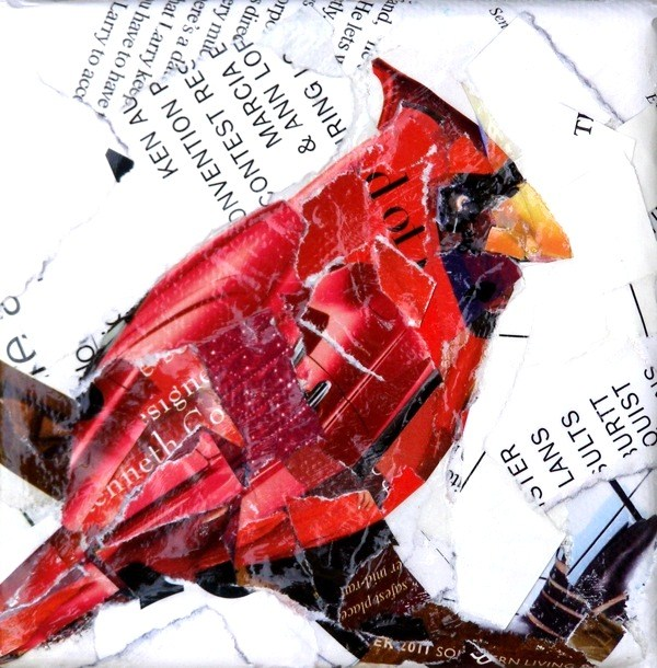 """""""Cindy's Cardinal, 4x4 Collage on Stretched Canvas"""" original fine art by Carmen Beecher"""