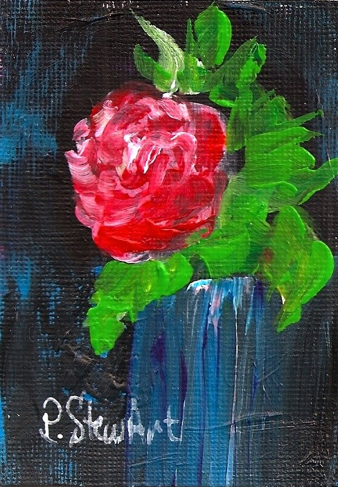 """ACEO A Rose in a Blue Vase Acrylic Original Painting"" original fine art by Penny Lee StewArt"