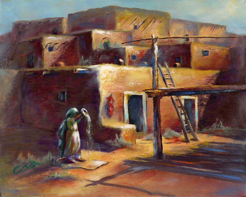 """""""The Pueblo"""" original fine art by Sharon Abbott-Furze"""