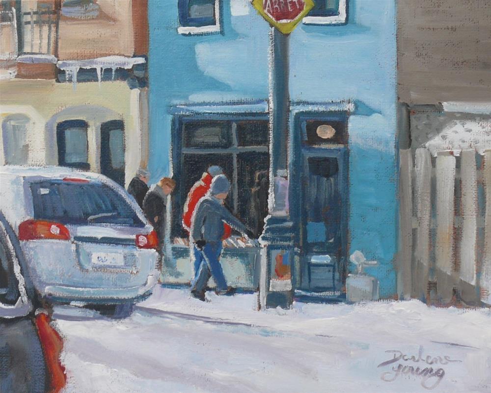 """""""1093 The Book Shop, McGill Student Ghetto Scene"""" original fine art by Darlene Young"""