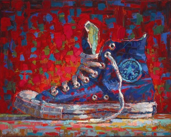 """Converse Hi-Top Blue"" original fine art by Raymond Logan"