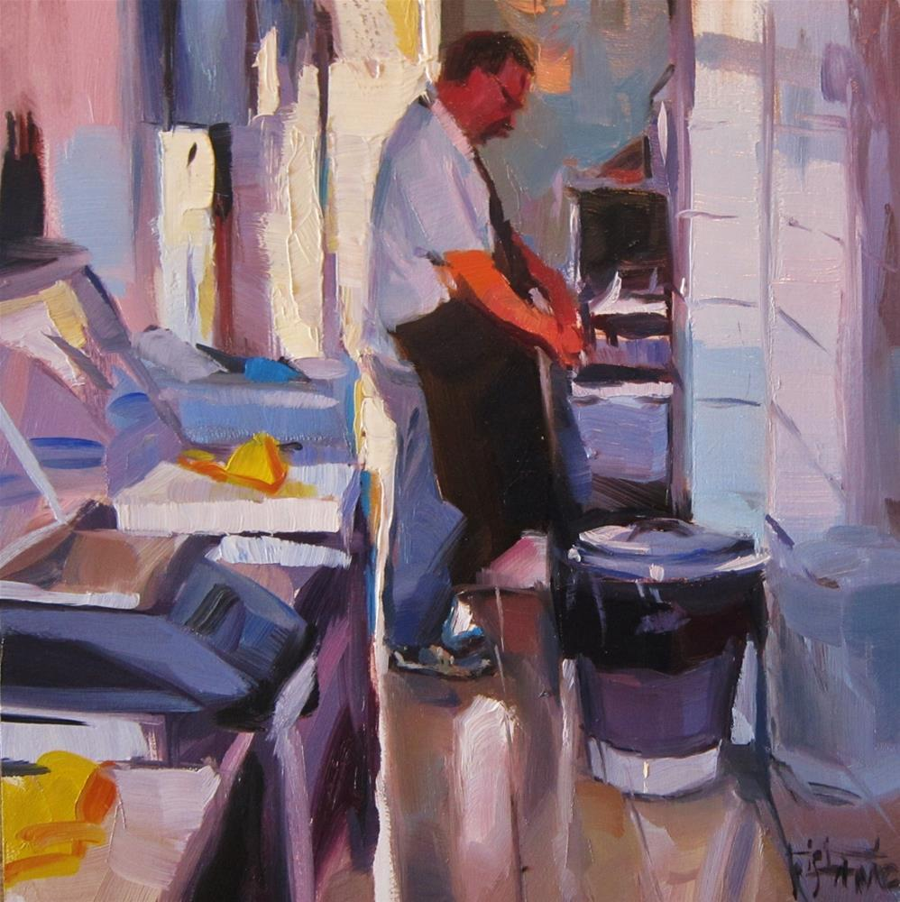 """At the butcher´s shop"" original fine art by Víctor Tristante"