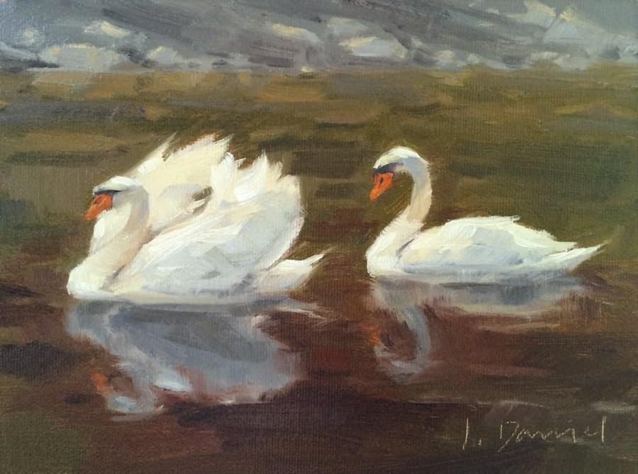 """Two Swans"" original fine art by Laurel Daniel"