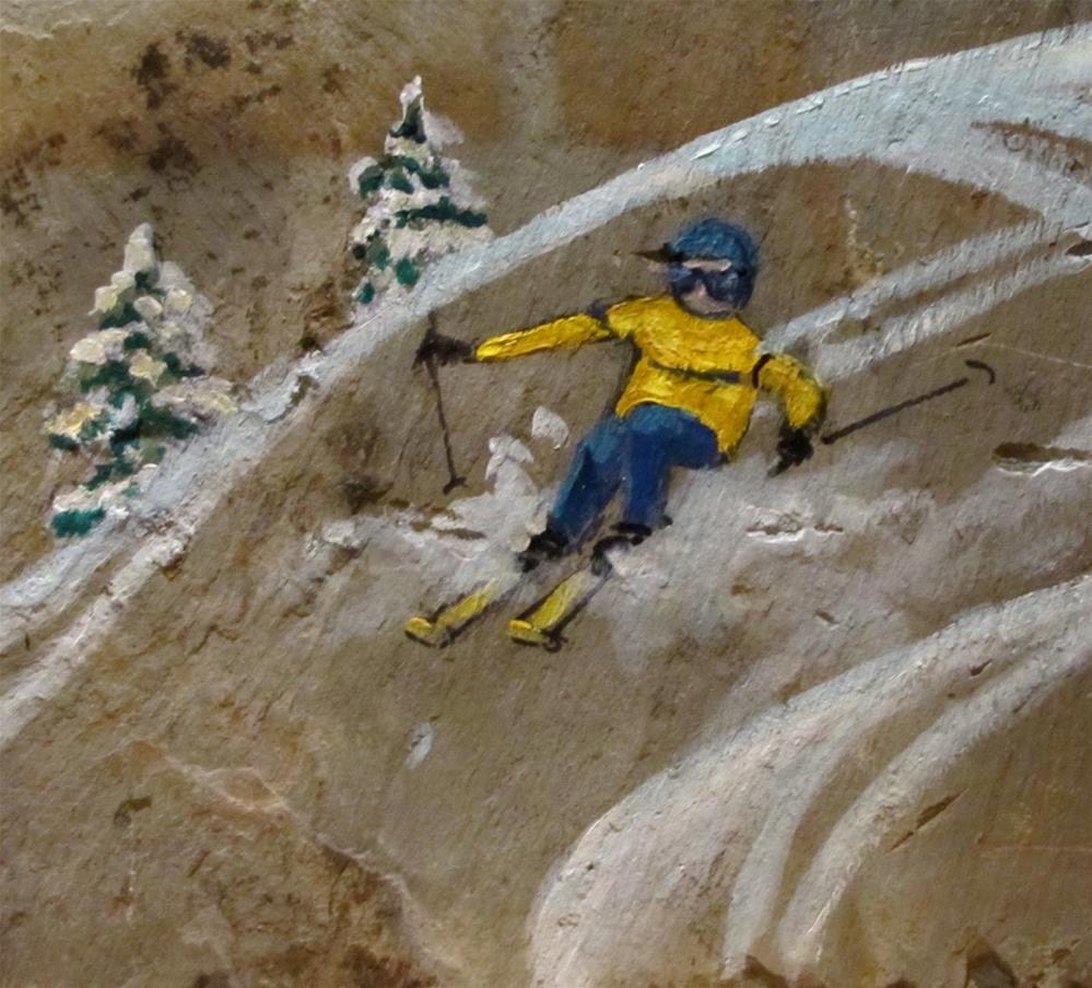 """""""Day 4 Slate 11x14 - Skiing"""" original fine art by Christine Holzschuh"""