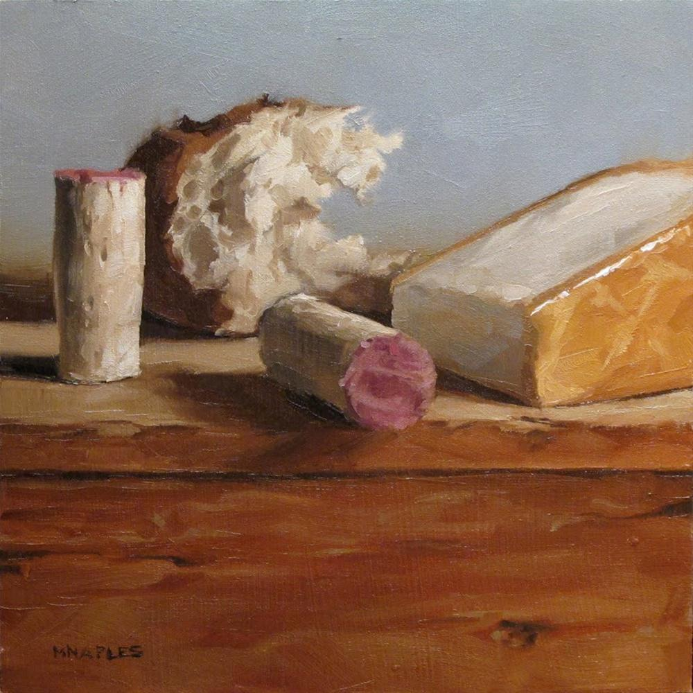"""""""Bread, Corks and Cheese"""" original fine art by Michael Naples"""