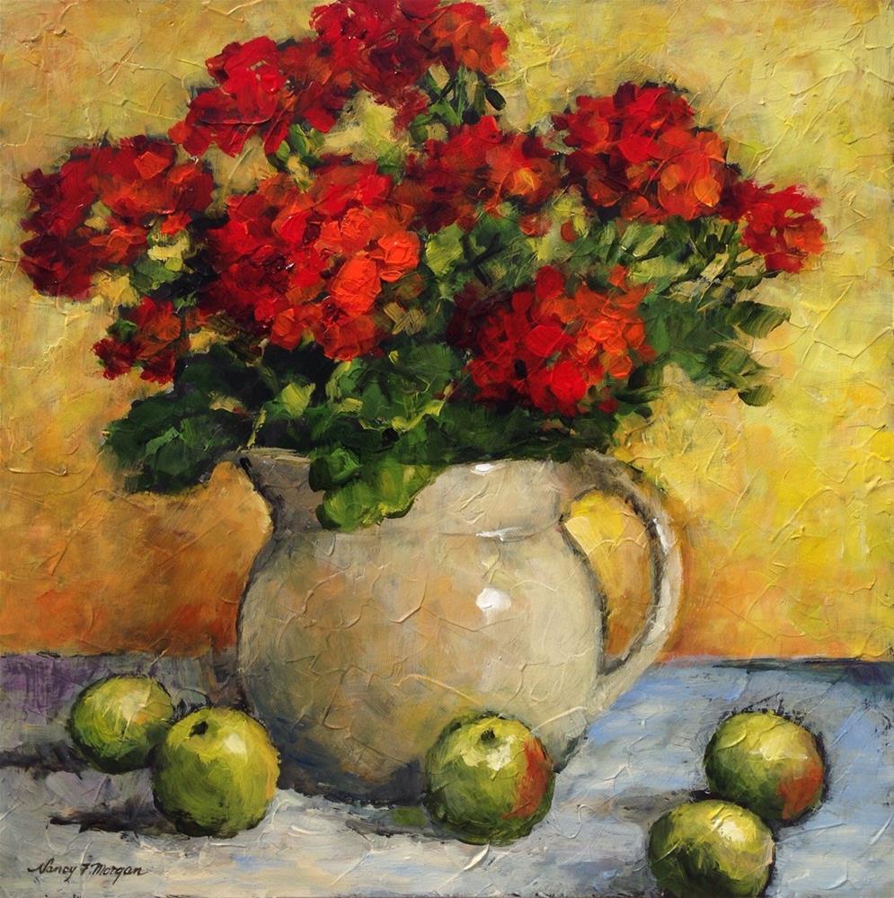 """Red Geraniums"" original fine art by Nancy F. Morgan"