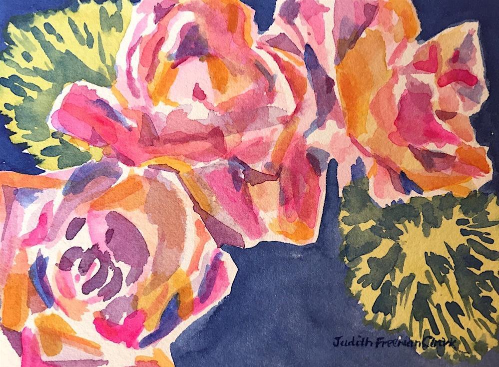 """Harlequin Roses"" original fine art by Judith Freeman Clark"