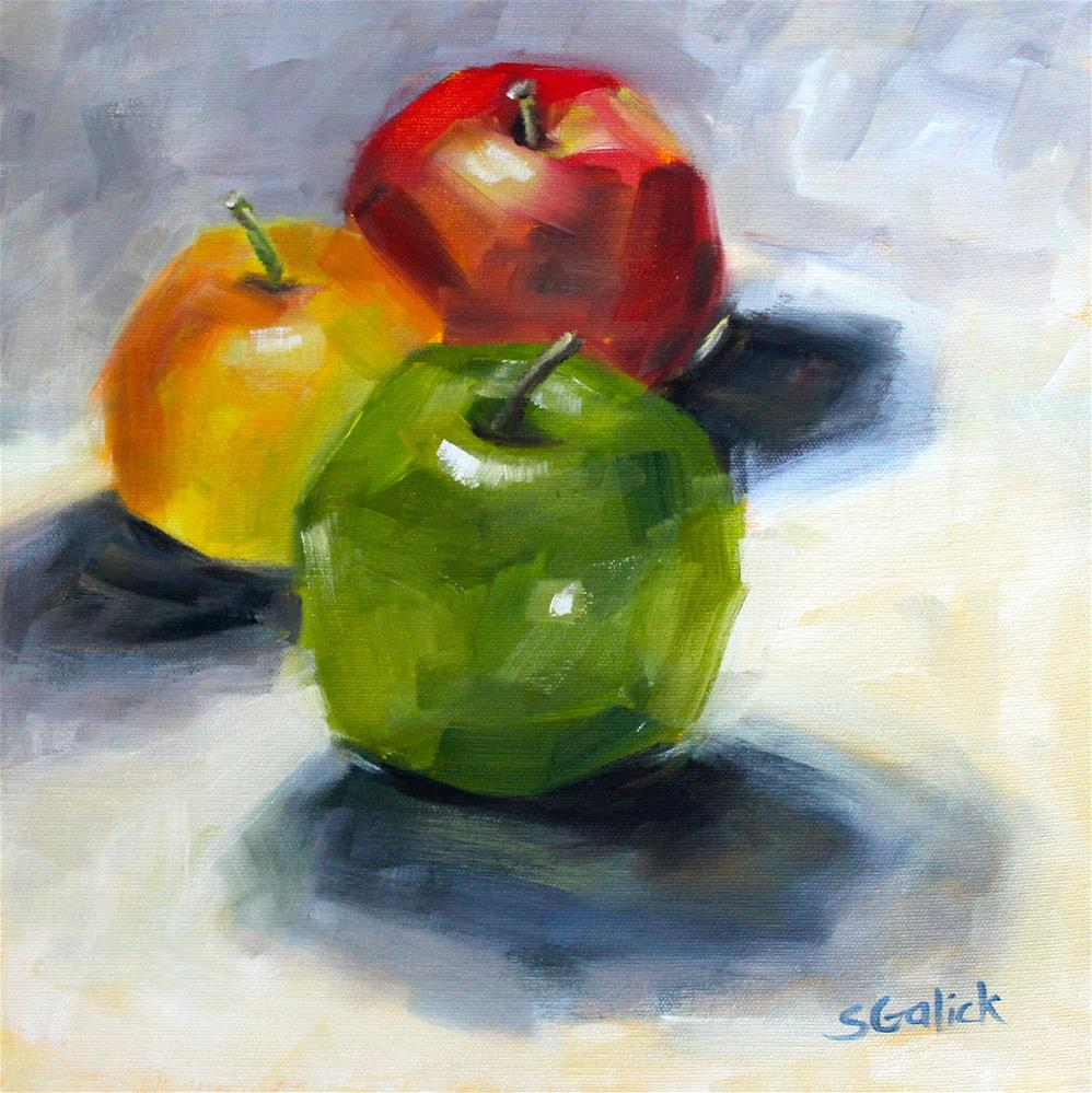 """Apple Trio"" original fine art by Susan Galick"