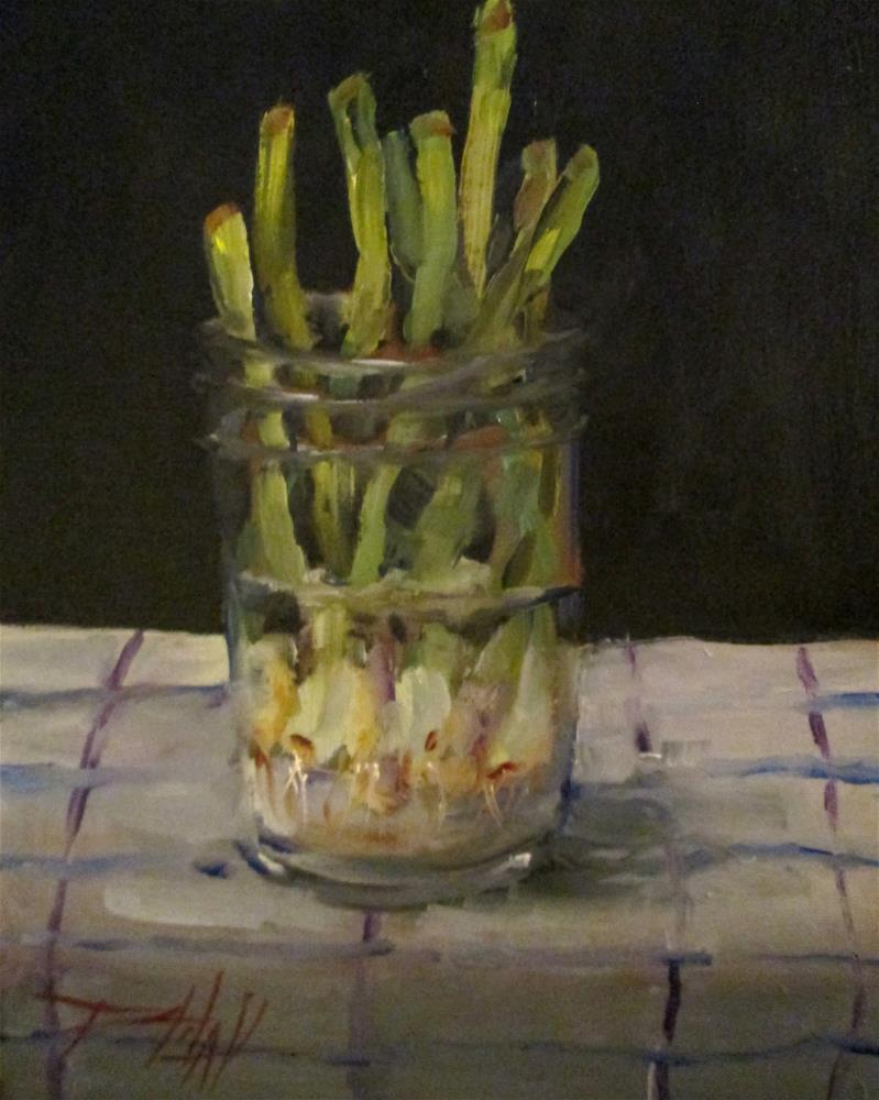 """Green Onions in a Jar"" original fine art by Delilah Smith"