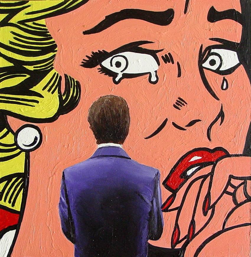"""Crying Girl- Painting Of Man Enjoying Painting By Roy Lichtenstein"" original fine art by Gerard Boersma"