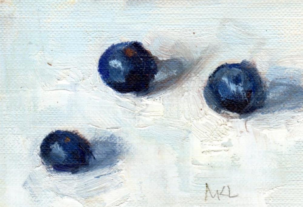 """""""Three Blueberries"""" original fine art by Marlene Lee"""