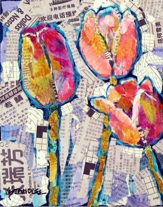 """Tulip Collage, 12081"" original fine art by Nancy Standlee"