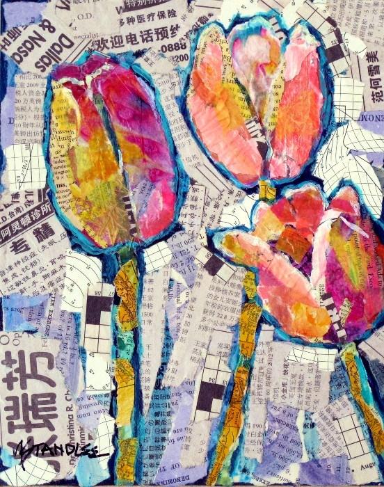 """Tulip Collage, 12081"" original fine art by Nancy Standlee"