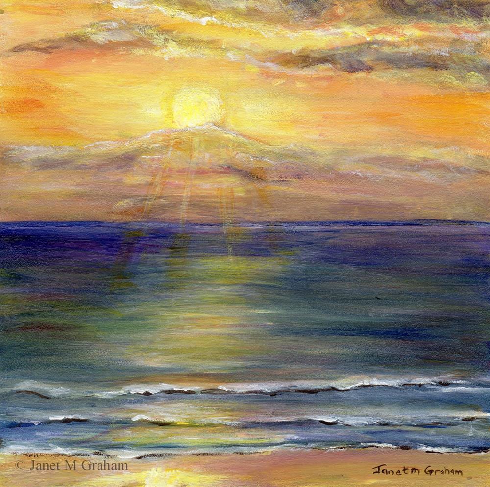 """Sunrise over Marcoola Beach"" original fine art by Janet Graham"