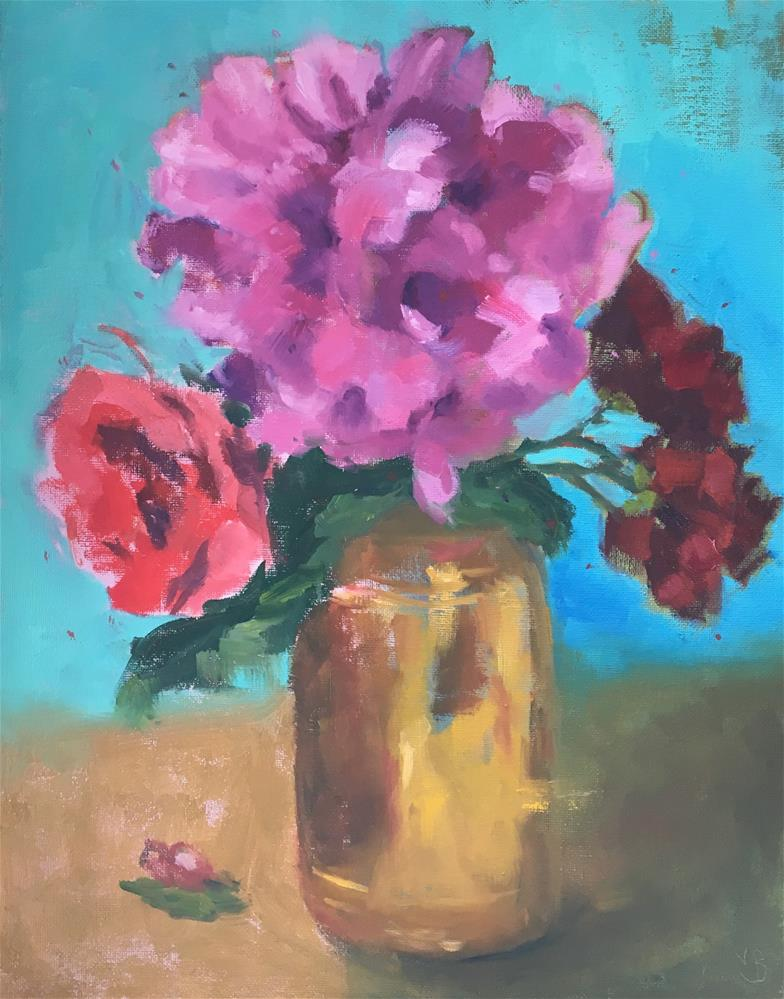 """Backyard Bouquet - Peony with Roses"" original fine art by Victoria  Biedron"