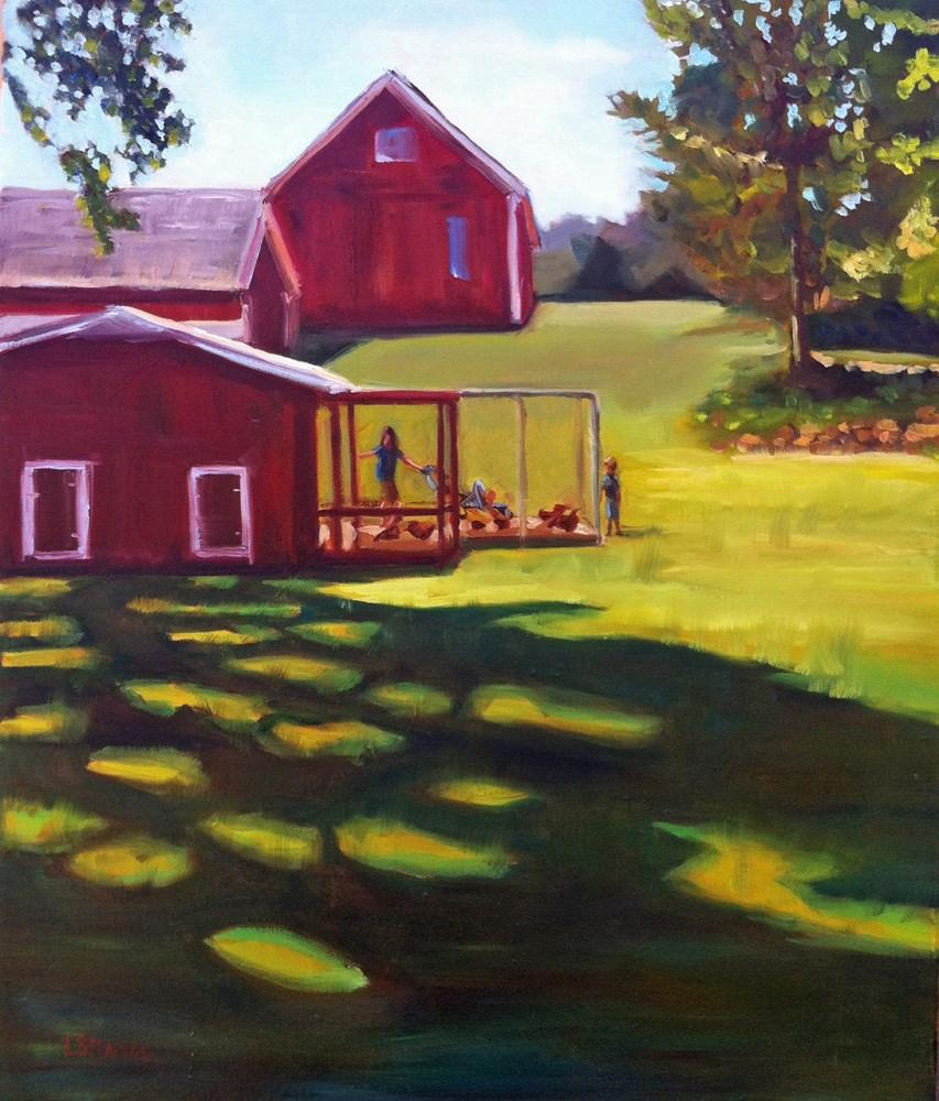 """Chatting with Chickens"" original fine art by Linda Marino"