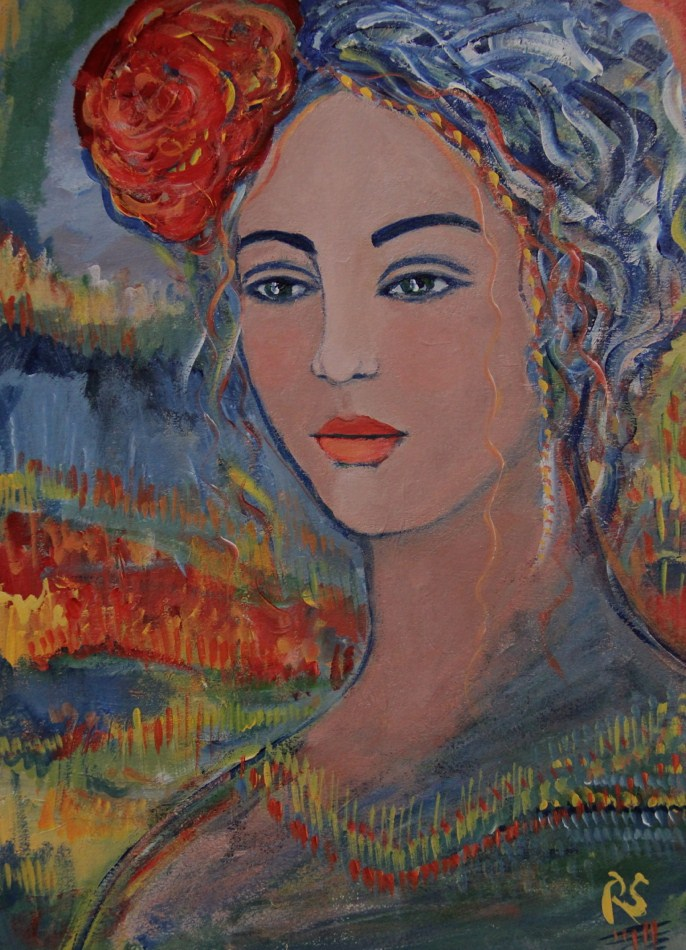 """The Red Flower"" original fine art by Roberta Schmidt"