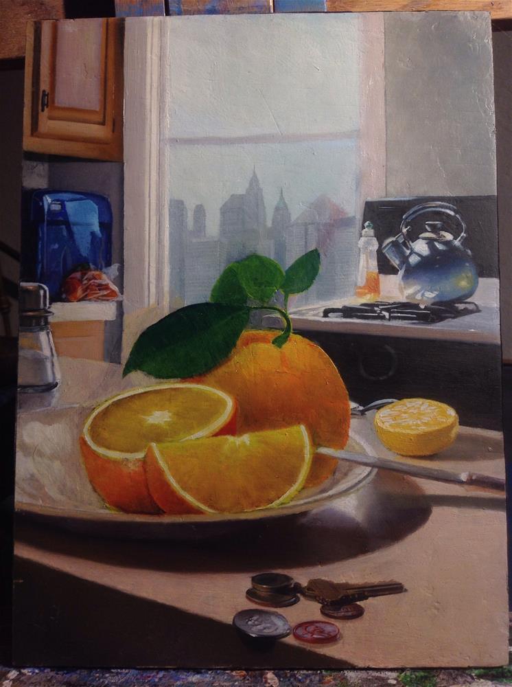 """""""Oranges on a table – Work in progress"""" original fine art by Paulo Jimenez"""