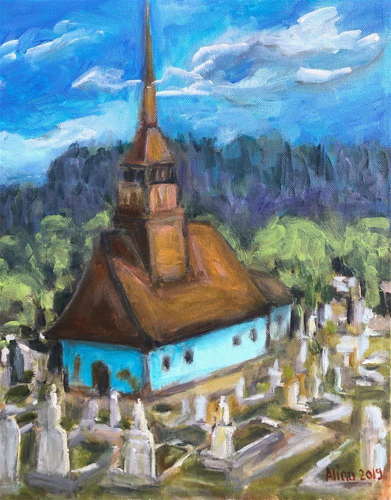"""Transylvanian Wooden Church"" original fine art by Alina Vidulescu"