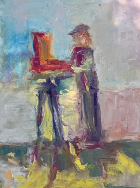 """""""Artist at Work"""" original fine art by Angela Hansen"""