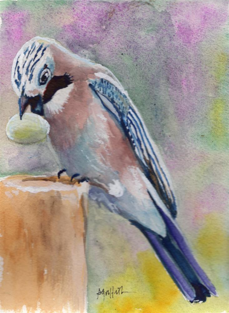"""Bird with Nut"" original fine art by Bunny Griffeth"