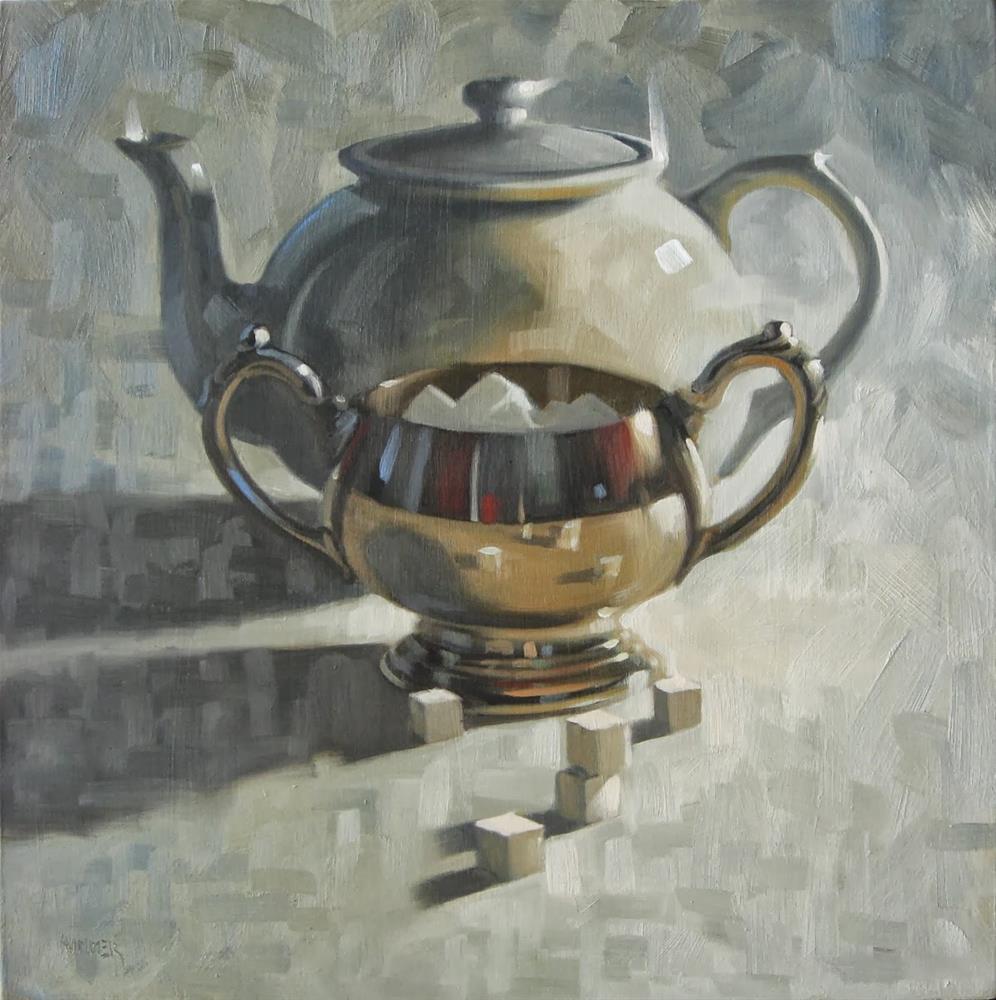 """Sugar Sugar Teapot 18 x 18  oil"" original fine art by Claudia Hammer"