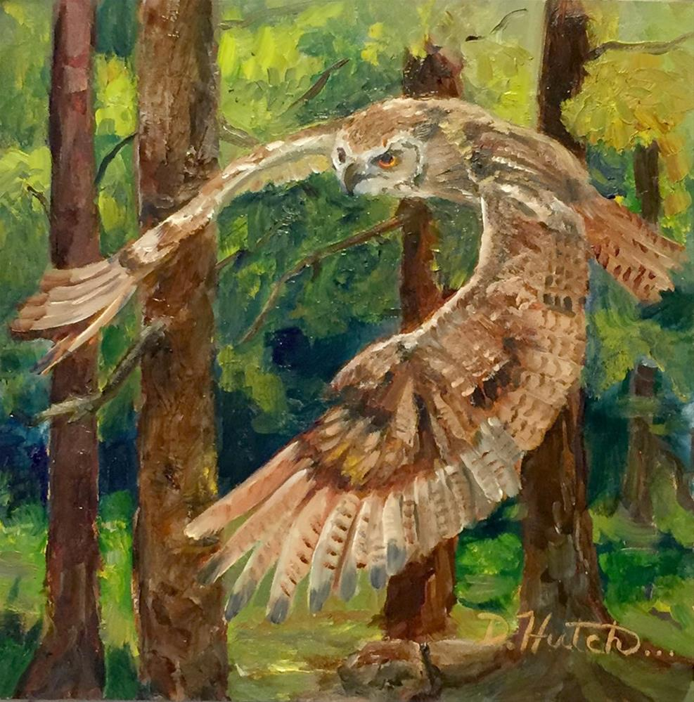 """Owl in the Forest"" original fine art by Diane Hutchinson"