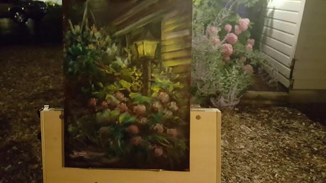 """""""Pink Hydrangea by Lamplight"""" original fine art by Tammie Dickerson"""
