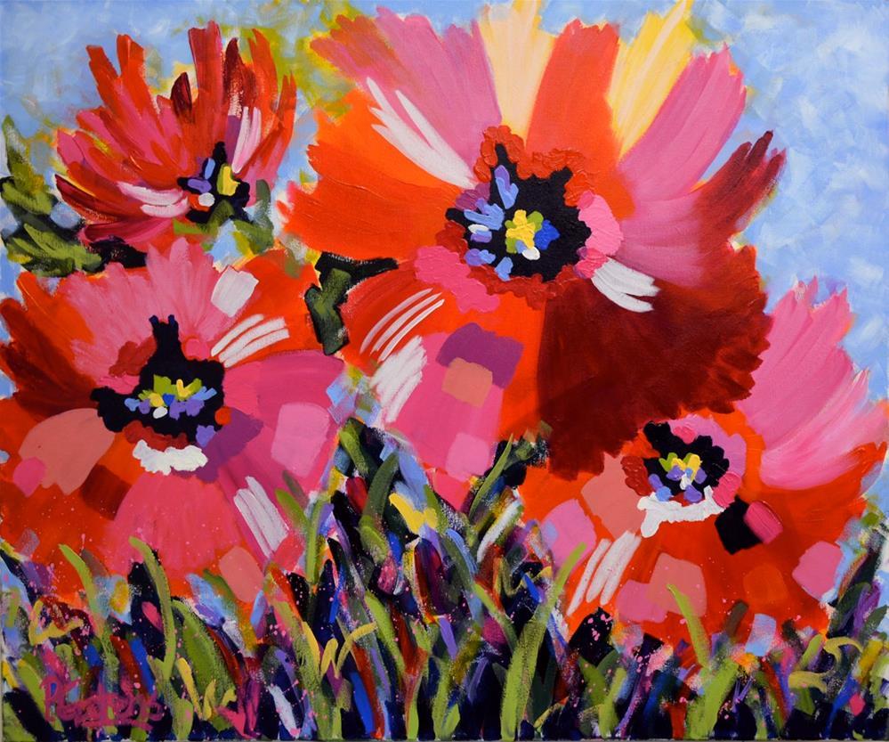 """Big Poppy Blooms"" original fine art by Pamela Gatens"