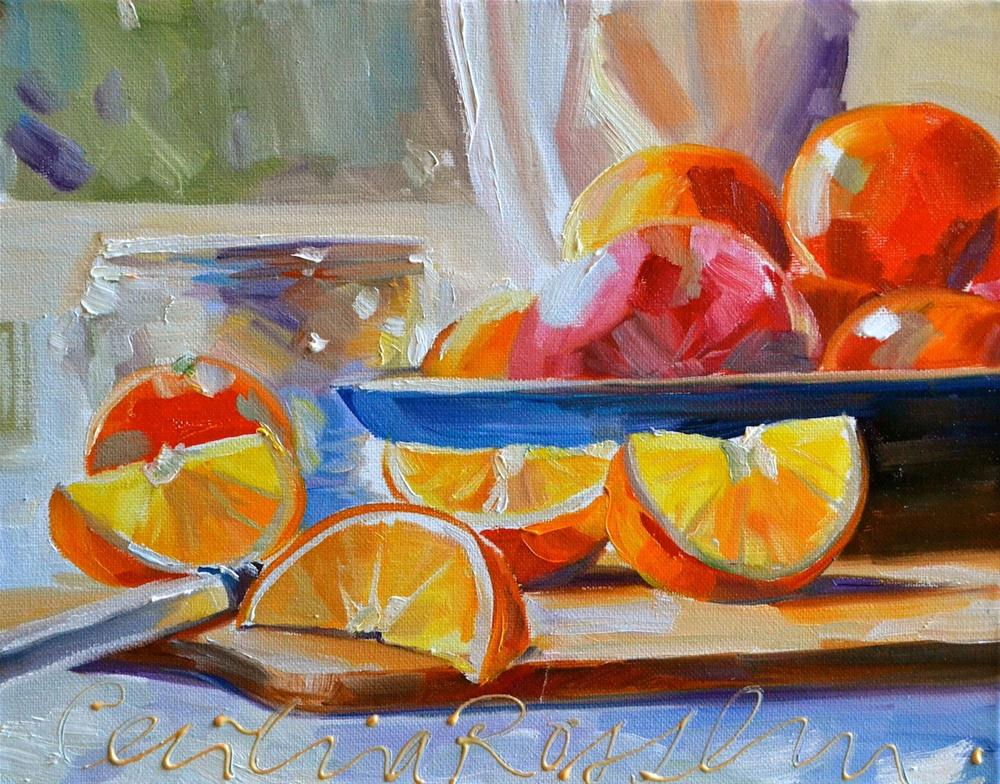 """CITRUS WEDGES"" original fine art by Cecilia Rosslee"
