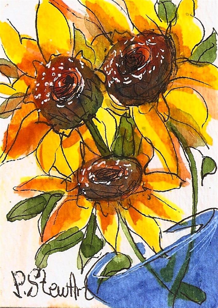 """ACEO Sunflowers in Blue Glass Vase, WC & Pen, Illustration, Original Art"" original fine art by Penny Lee StewArt"