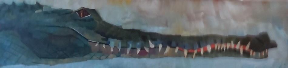 """Crocodile Oregon Zoo"" original fine art by Elizabeth See"