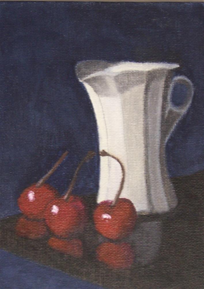 """Cherries and Pitcher Framed"" original fine art by John Marcum"