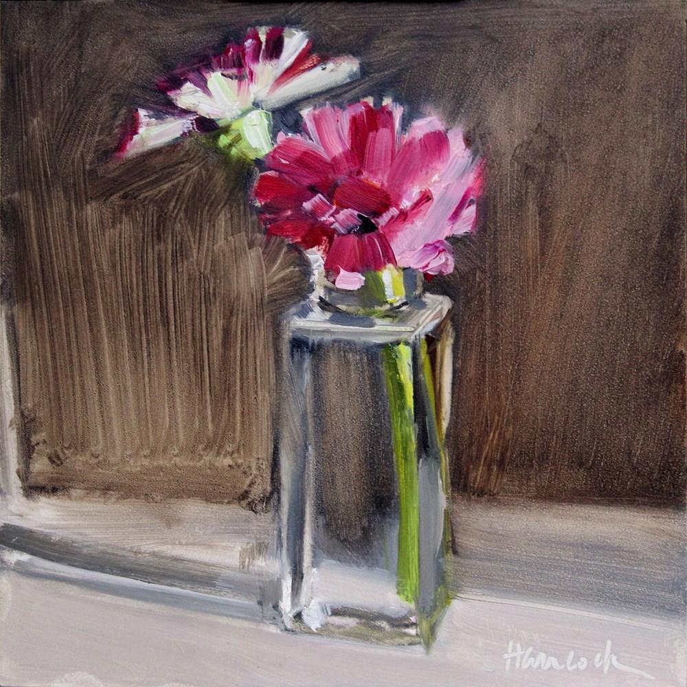 """Zinnias Square Glass Jar"" original fine art by Gretchen Hancock"