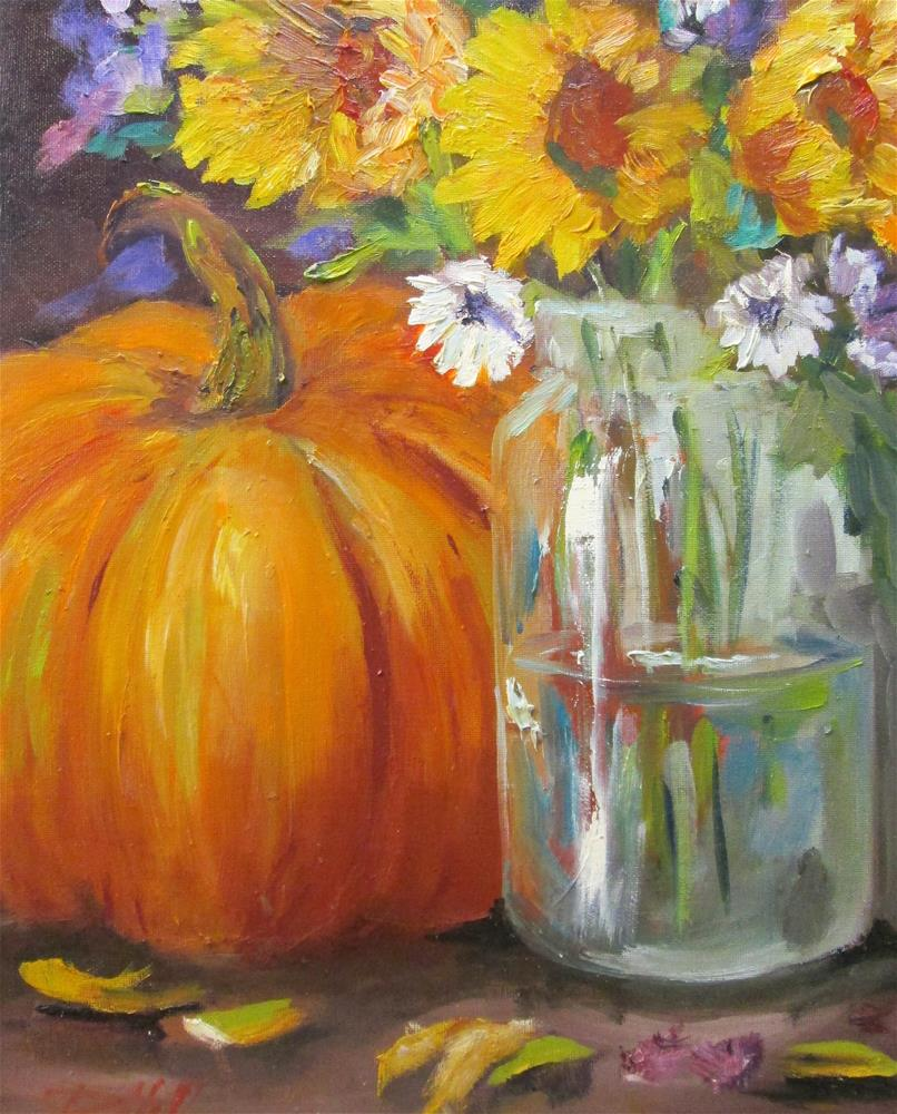 """""""Pumpkin and Sunflowers"""" original fine art by Delilah Smith"""