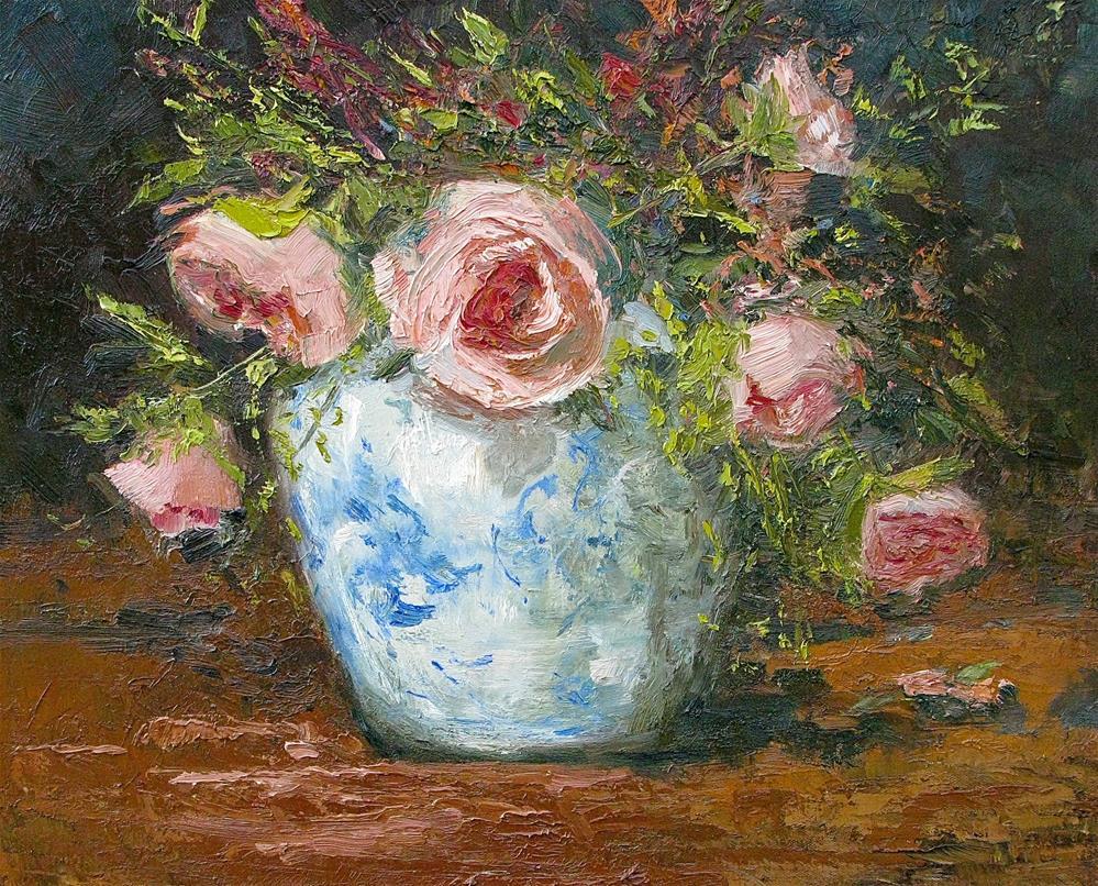 """Heirloom Roses"" original fine art by kay  keyes farrar"