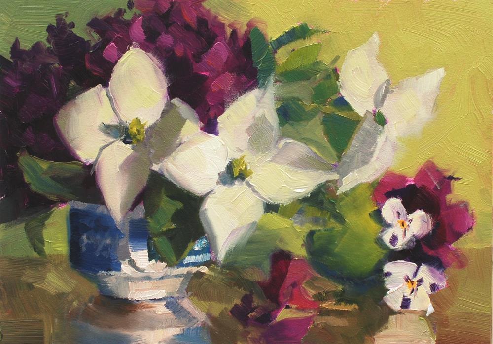 """""""Teacup Bouquet 5"""" original fine art by Susan McManamen"""