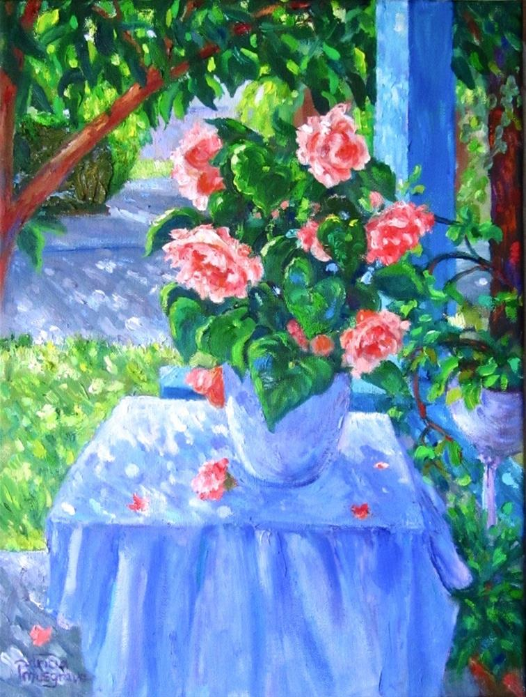"""Porch Flowers"" original fine art by Patricia Musgrave"