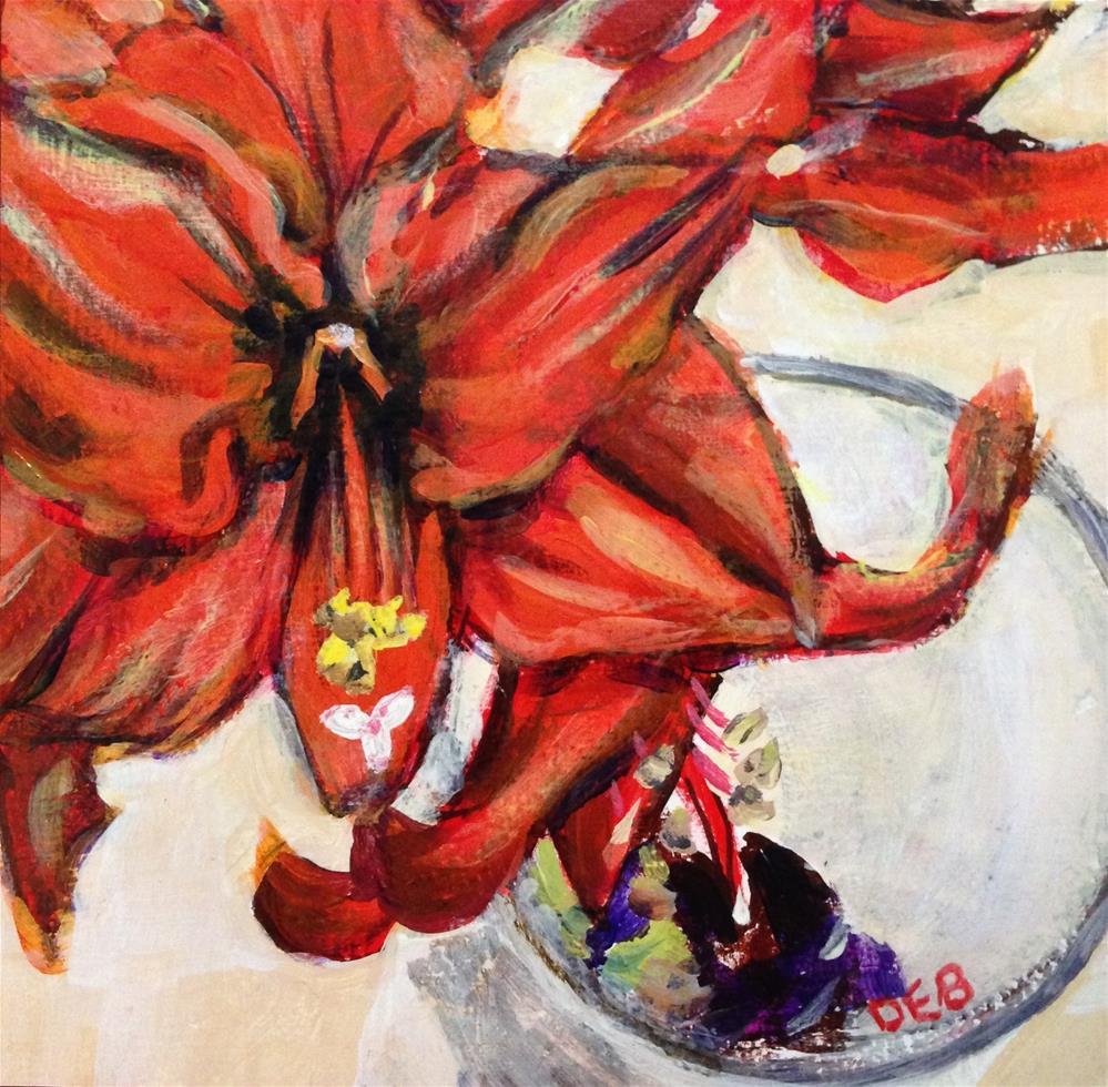 """Merry Amaryllis!"" original fine art by Debbie Yacenda"