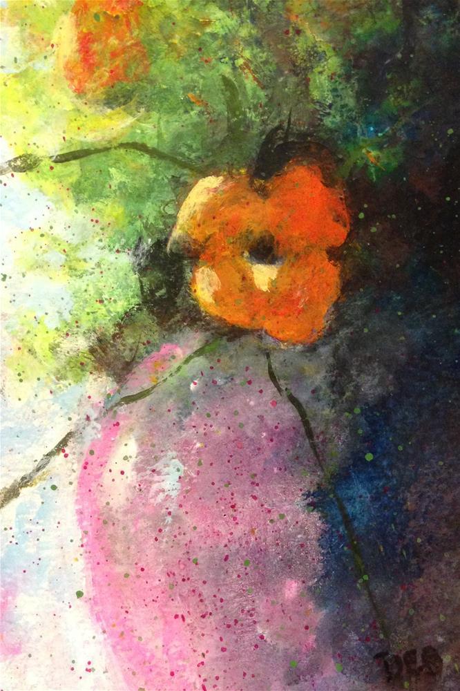 """Orange Floral"" original fine art by Debbie Yacenda"