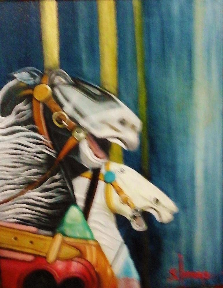 """Pole Dancers"" original fine art by Sue Lorenz"