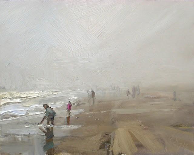 """Seascape winter #29 Dense fog at the beach"" original fine art by Roos Schuring"